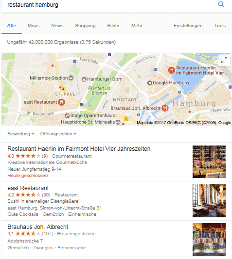 Treffer lokale Suchmaschinenoptimierung